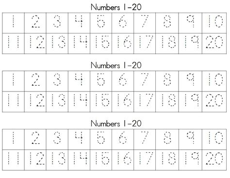 Number Worksheets 1 20 by Practice Writing Numbers 1 20 Worksheet