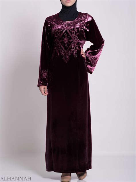 Jilbab Velvet Sequin Syria Berkualitas vined embroidered velvet syrian thobe th788