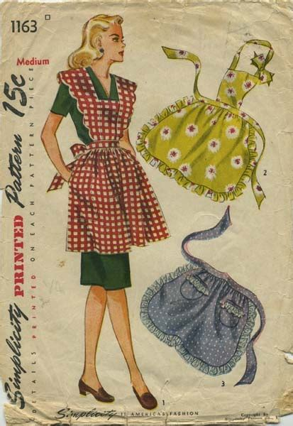 pattern waist apron vintage apron sewing pattern simplicity 1163 year 1944