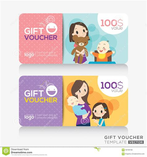 Gift Cards For Children - kids store coupon voucher or gift card design template stock vector image 59709190