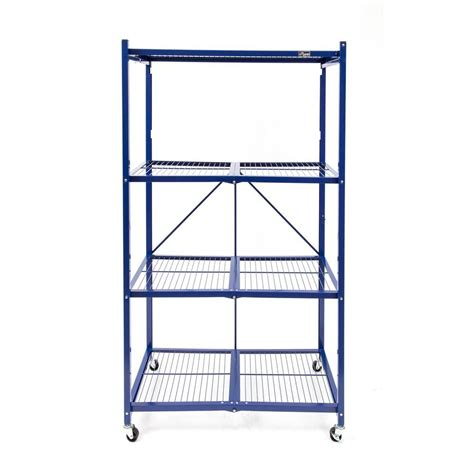 origami shelving unit origami 36 in w x 60 in h x 20 in d 4 tier blue steel