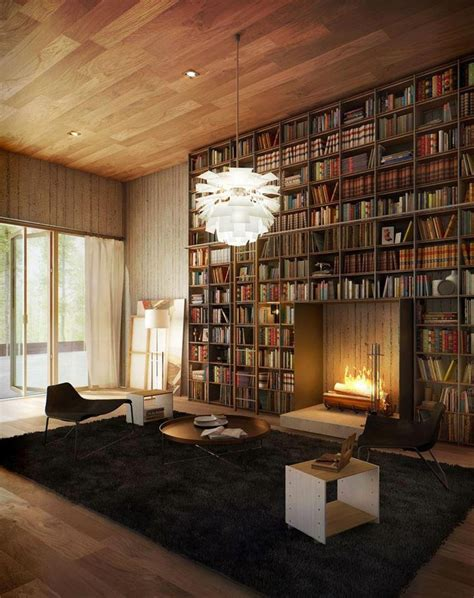 beautiful bookcase fireplace interior design ideas
