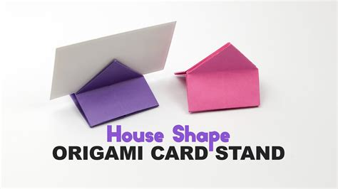 Origami Name Card - learn how to make a house shaped origami card holder