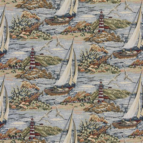 sailboat upholstery fabric sailboats docks and lighthouse themed tapestry upholstery