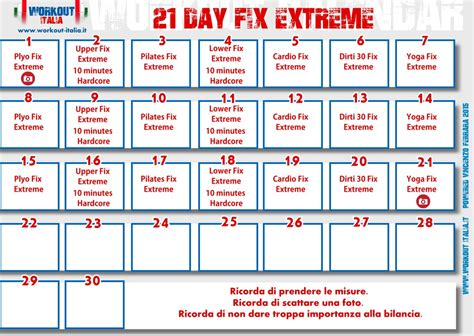 21 Day Fix Calendar 21 Day Fix Workout Schedule Week 1