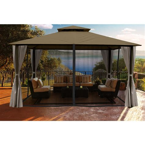 paragon 11 ft x 14 ft gazebo with sand color roofand
