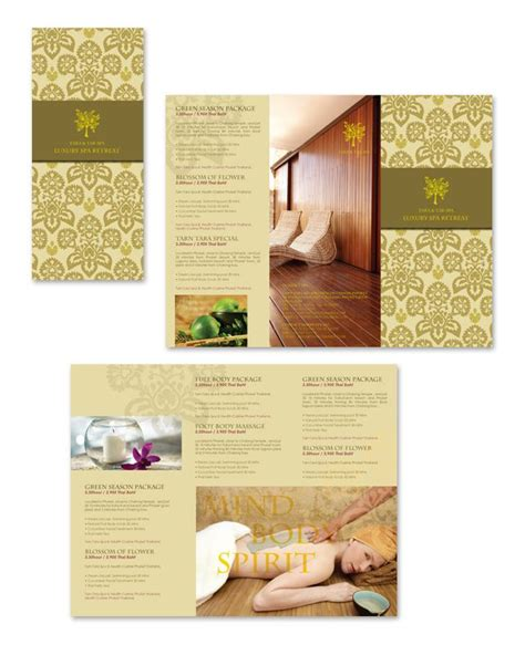 natural day spa massage tri fold brochure template http