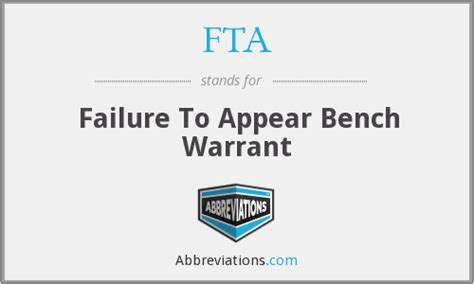 fta bench warrant fta failure to appear bench warrant