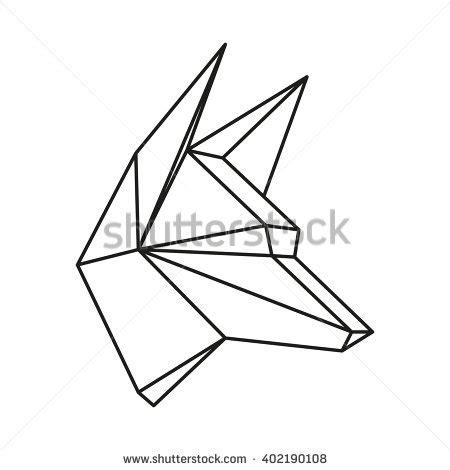 geometric vector animal wolf head drawn stock vector