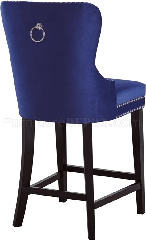 Navy Blue Fabric Bar Stools by Stool 741 Set Of 2 In Navy Velvet Fabric By Meridian