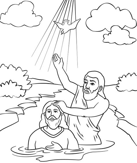 Baptism Of Jesus Coloring Page the baptist coloring page baptism of jesus