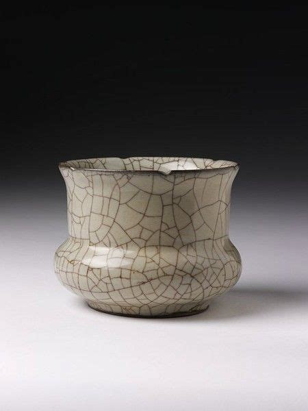 song ware stoneware vase with crackled glaze guan ware from the