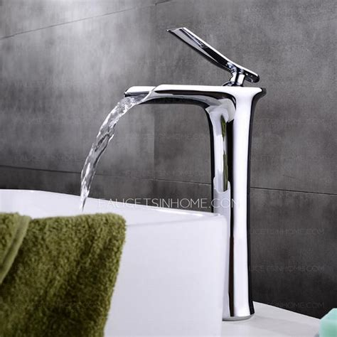 copper waterfall bathroom faucet high end copper vessel waterfall bathroom sink faucet