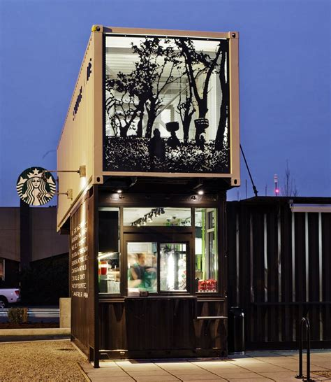stores like container store starbucks drive thru and walk up store made from shipping
