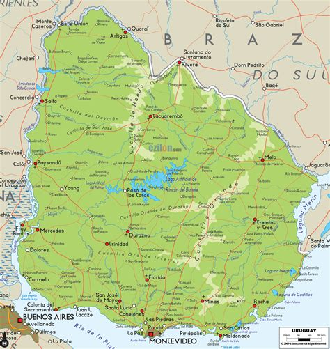 uraguay map large detailed physical map of uruguay with cities and