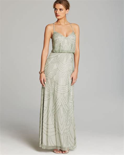 beaded blouson gown papell gown beaded blouson in gray lyst