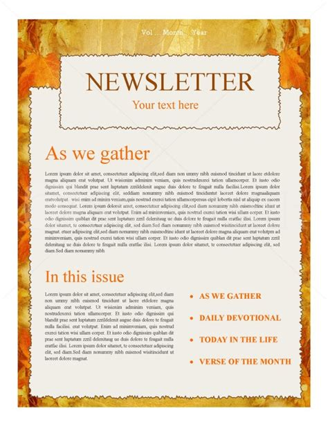autumn church newsletter template newsletter templates