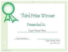 prize certificate template sports certificate third prize winner certificate