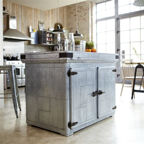 industrial style kitchen islands tikamoon zinc industrial kitchen island cupboard dresser