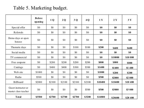 Dancing Studio Marketing Plan Studio Budget Template
