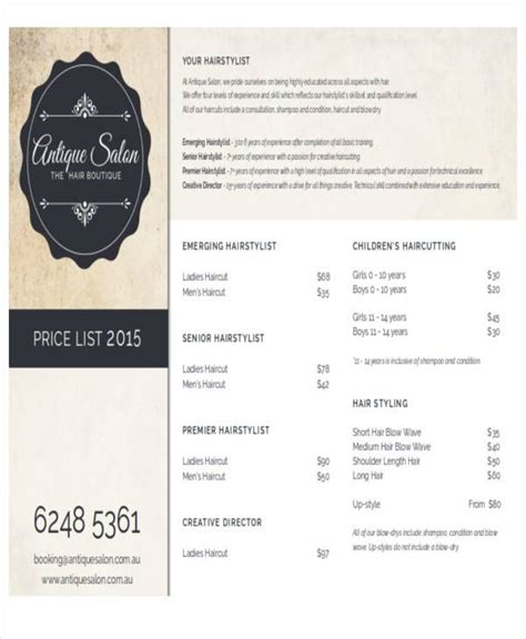 9 Salon Price List Sles Sle Templates Salon Price List Template