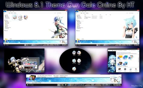 themes for windows 8 1 anime visual styles 8 gun gale online sinon anime theme by