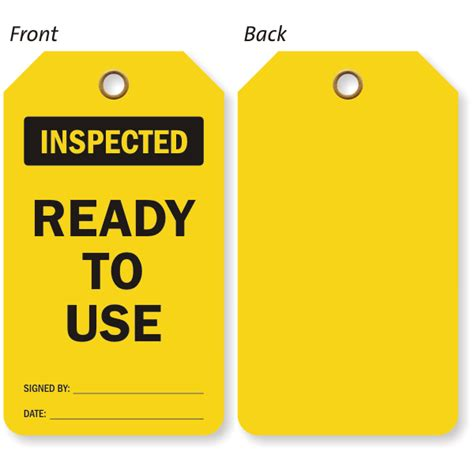 to use inspected ready to use inspection status two sided tag
