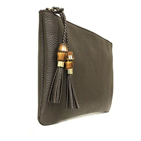 Clutch Bag Abu Abu Bg2305 gucci 376858 brown leather bamboo braided tassel large