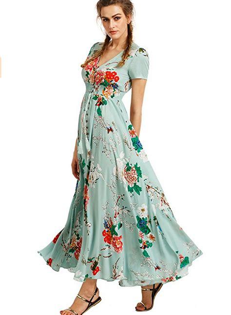 41345 Flower With Slit S M L Dress s boho v neck high waist slit floral maxi dress