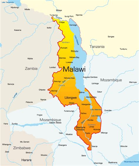malawi map malawi map showing attractions accommodation