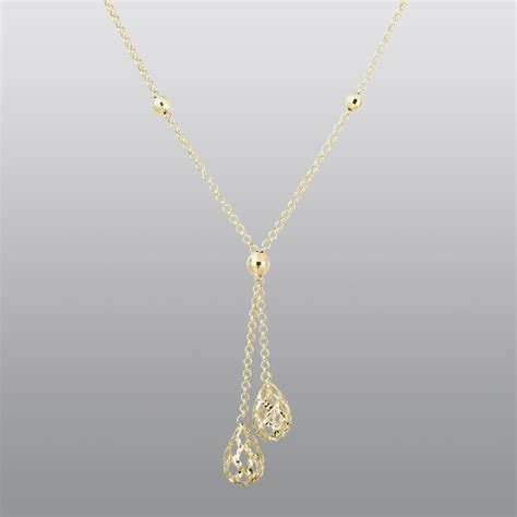 10k yellow gold tear drop pendant with a 17 inch chain