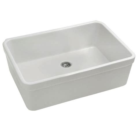 basichaus farmhaus fireclay kitchen sink in white by