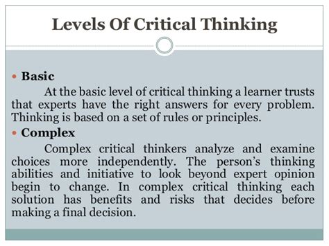 exle of critical thinking critical thinking in the nursing process