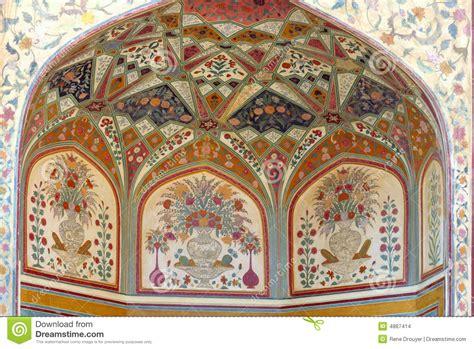 fresco motifs india jaipur fresco on a wall stock illustration image