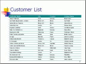 customer list template free powerpoint report sle customer list