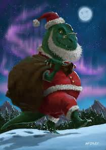 quot dinosaur christmas santa out in the snow quot by martyee