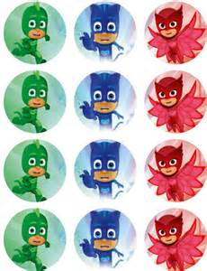 pj masks edible image cupcake toppers