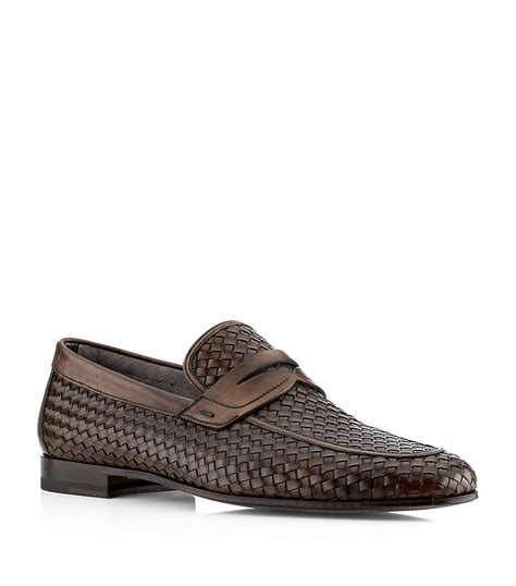 woven loafer magnanni woven loafer in brown for lyst