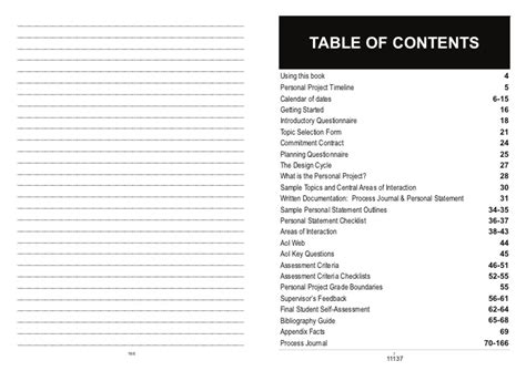 Personal Mba Table Of Contents by Personal Project Student Guide And Process Journal