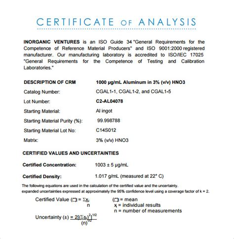 11 Sle Certificate Of Analysis Templates To Download Sle Templates Certificate Of Analysis Template