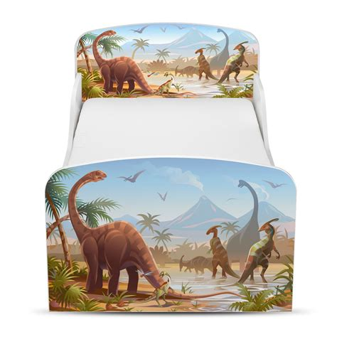 Dinosaur Toddler Bed Frame Price Right Home Jurassic Dinosaurs Toddler Bed With Protective Side Panels New Ebay