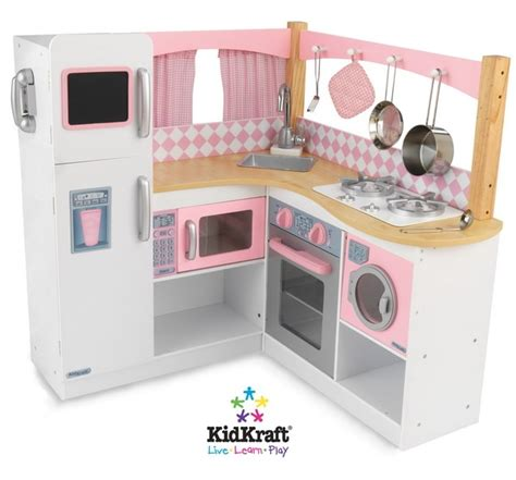 Kitchen Set Pink 36 quot pink white wood pretend play kitchen set with accessories