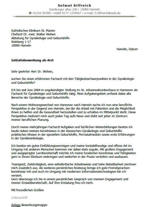 Initiativbewerbung Anschreiben Krankenhaus Bewerbung Arzt Ungek 252 Ndigt Berufserfahrung Sofort