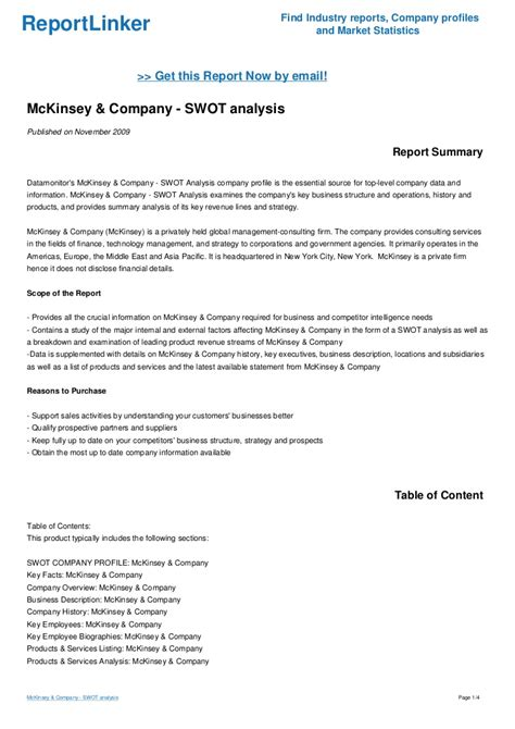 mckinsey consulting report template mckinsey company swot analysis