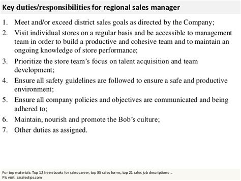 Regional Sales Director Description by Regional Sales Manager