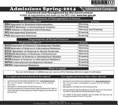 Mba In Iqra In Karachi by Iqra Karachi Admission 2015 Form Last Date