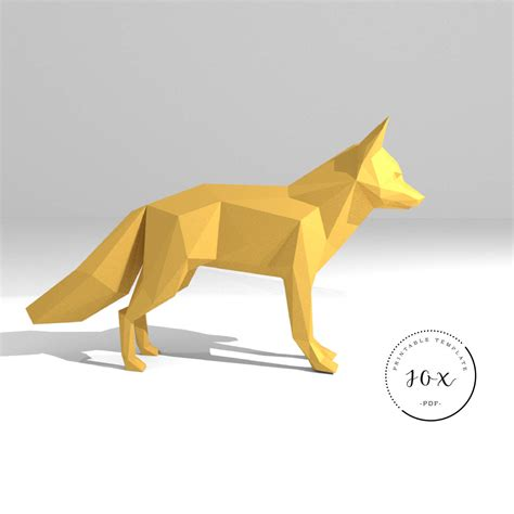3d Model Papercraft - printable diy template pdf fox low poly paper model 3d