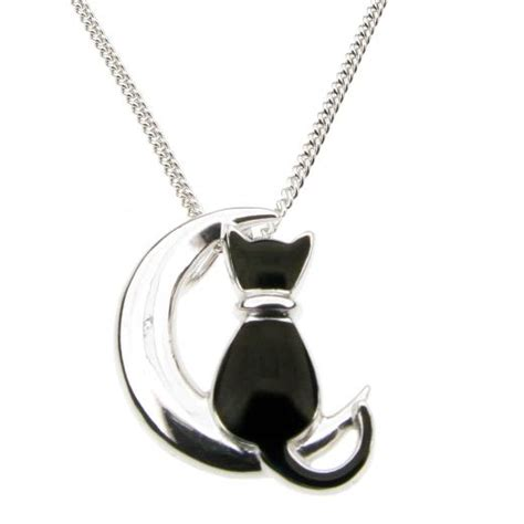 Moon And Cat Necklace black cat on moon silver necklace 163 67 00 black cat on