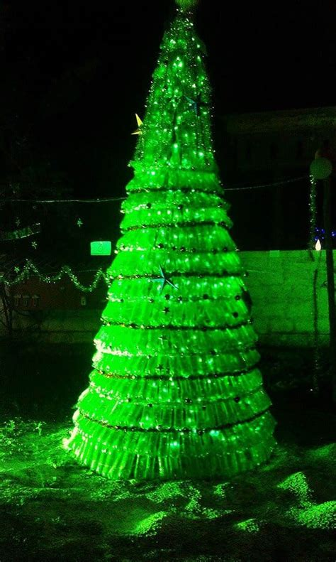 plastic bottles christmas tree recyclart