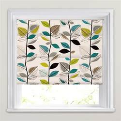 Thermal Roman Blinds Modern Teal Lime Green Black Amp White Leaves Printed